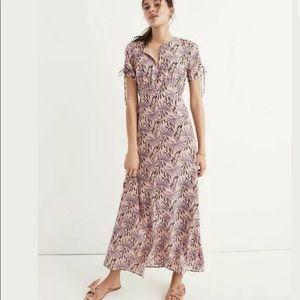 Madewell tie sleeve oasis palms maxi dress